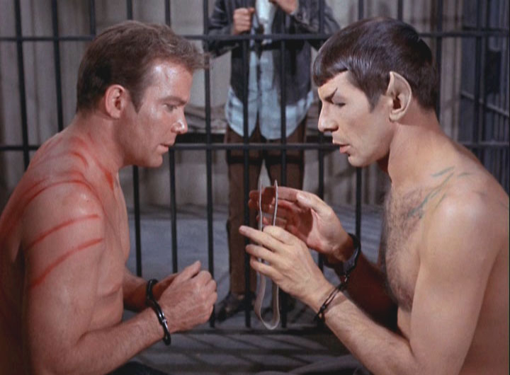 Kirk and Spock make plans.