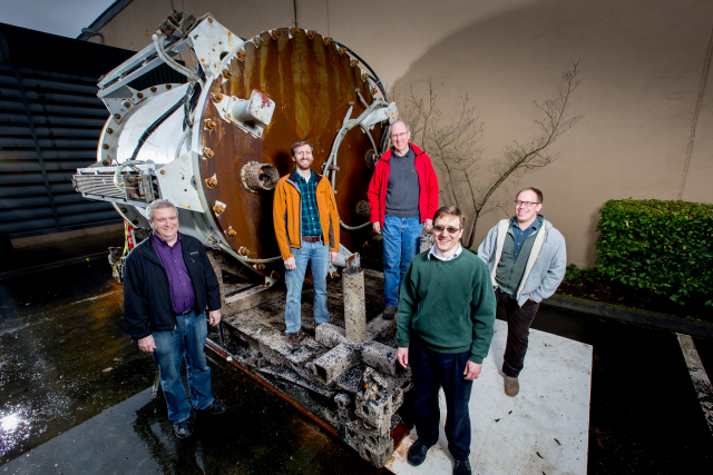 <em>Leona Philpot</em> and the team that designed her: from left to right, Eric Peterson, Spencer Fowers, Norm Whitaker, Ben Cutler, Jeff Kramer.