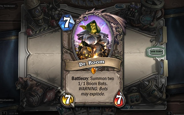 Soon, you'll no longer be able to find cards like Dr. Boom in purchasable digital packs of <em>Hearthstone</em> cards.