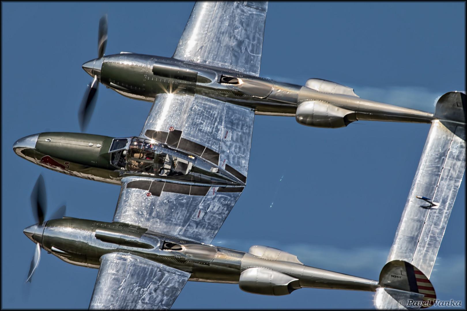 A restored P-38 Lightning.