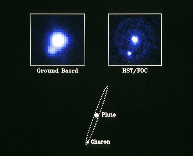 A comparison of ground-based and Hubble images of Pluto and Charon.