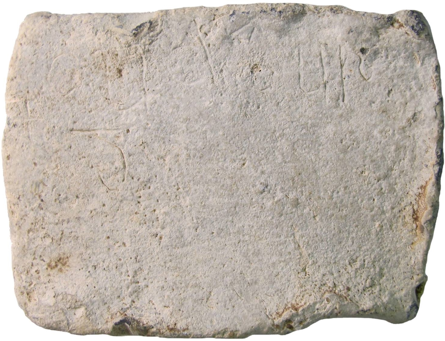 "This lead tablet is inscribed with the word ""Cudberg,"" an Anglo-Saxon woman's name."