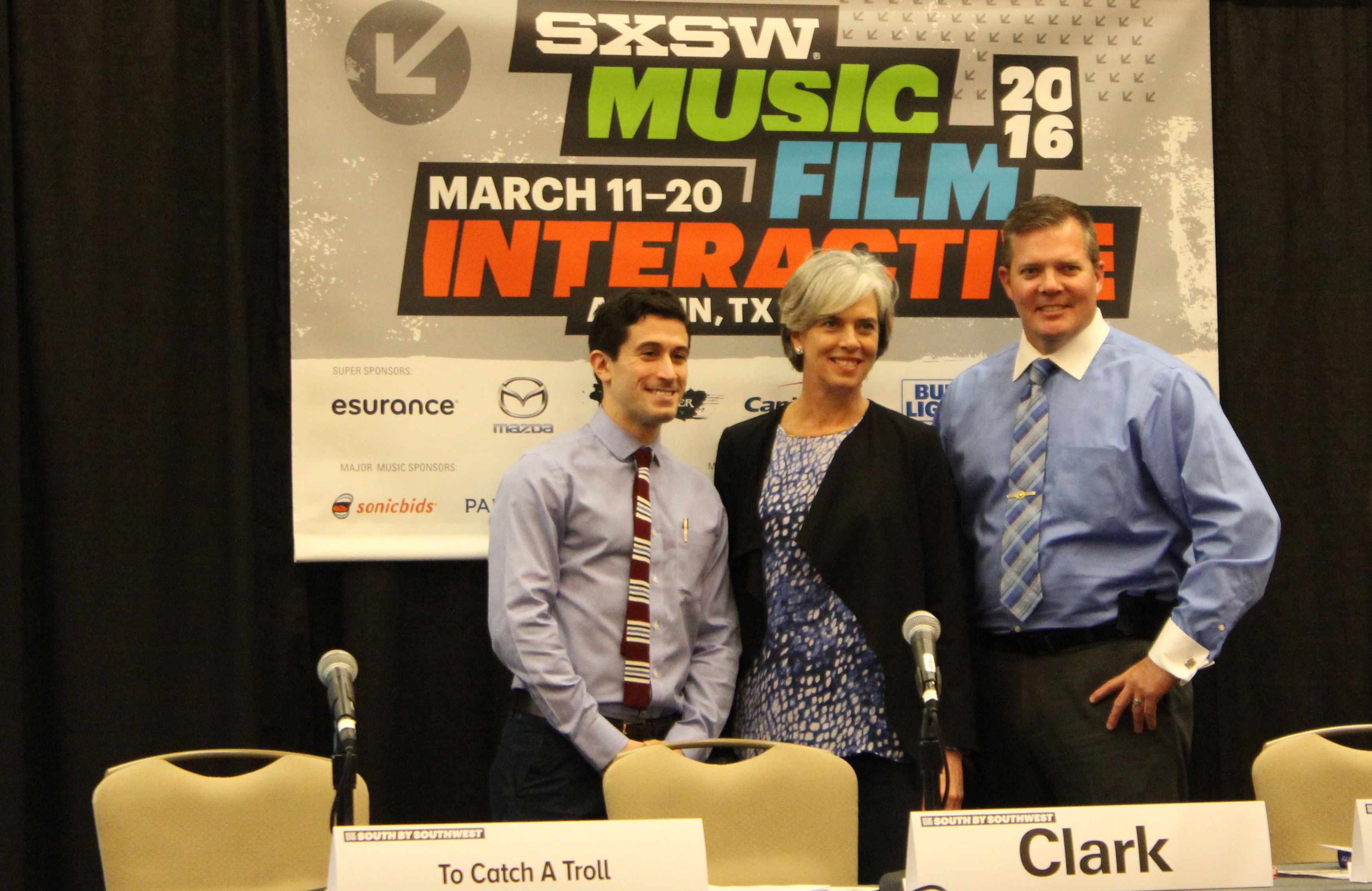 US Representative Katherine Clark (D-Mass.) appears at the first-ever South By Southwest Online Harassment Summit alongside New York Law School professor Ari Waldman(left) and Johns Creek, GA police sergeant BA Finley.