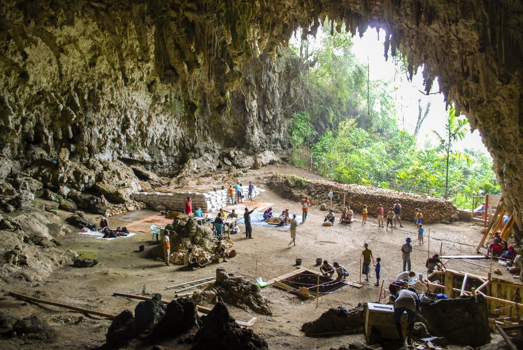 The Liang Bua Cave, with excavations in progress.