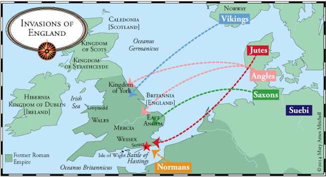 A map showing all the European groups that colonized England during the Anglo-Saxon period.