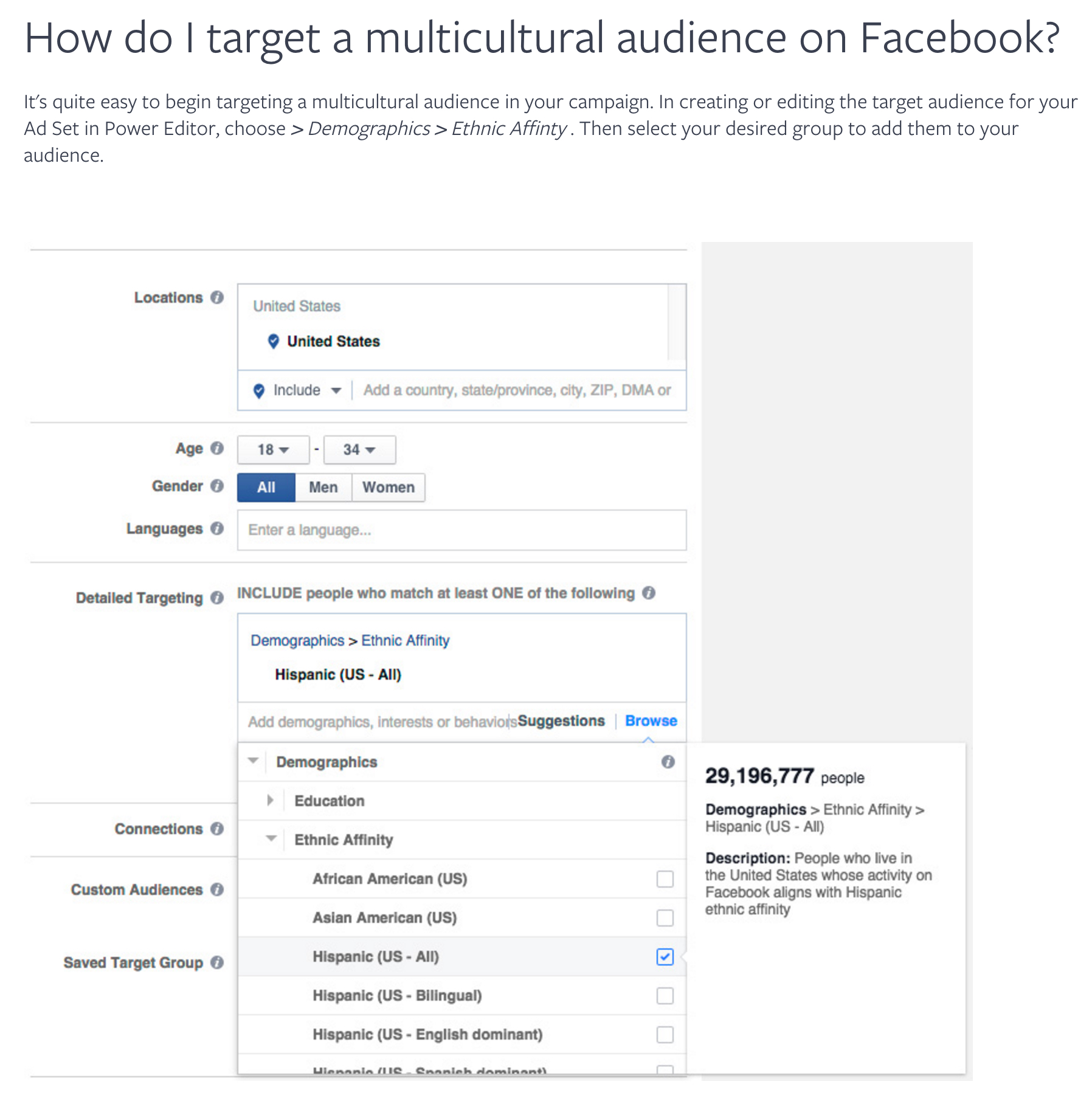 "Facebook provides marketers with this screenshot of their multicultural marketing tool. Note that ethnicity is called a ""demographic,"" which contradicts the idea that it's just a ""cultural connection."""