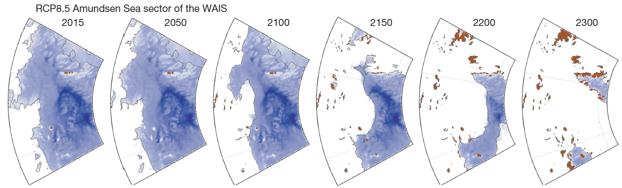 The Amundsen Sea portion of the West Antarctic Ice Sheet (which includes Thwaites Glacier) in the high emissions scenario simulations.