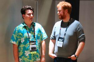 Oculus co-founder Palmer Luckey (left) and CCP CEO Hilmar Pétursson.