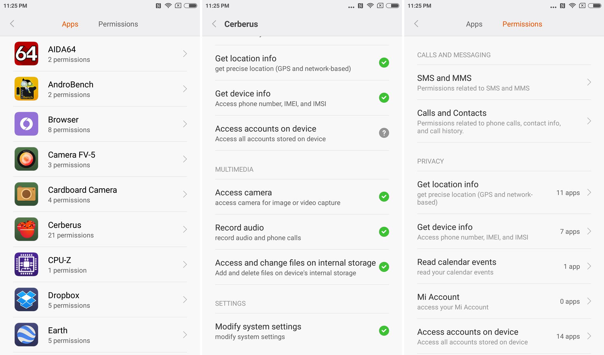 The permissions settings in MIUI. All of those Cerberus permissions were granted without consent.