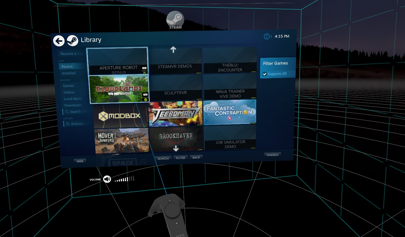 Using the SteamVR store in the HTC Vive Pre.