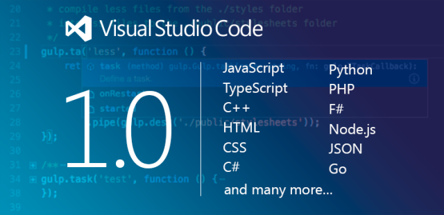 Visual Studio Code editor hits version 1, has half a million users