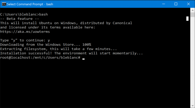 First Windows 10 preview with bash support is out now