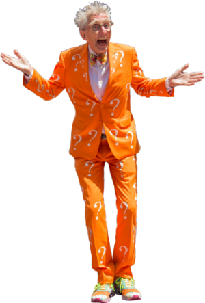 """Matthew Lesko, the """"question mark suit guy,"""" helped pioneer the """"free government money"""" business."""