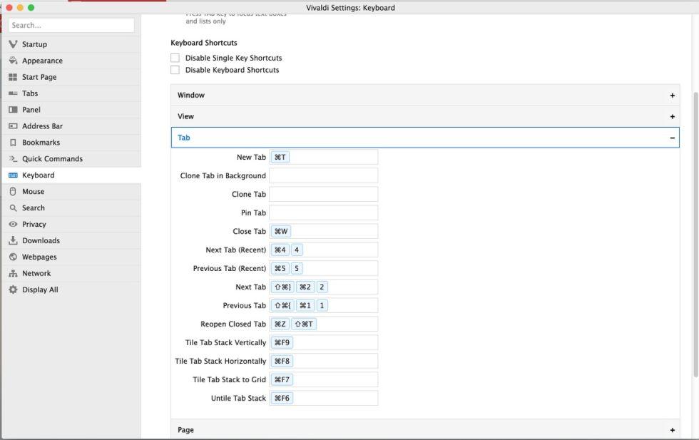 Customizing keyboard shortcuts in Vivaldi.