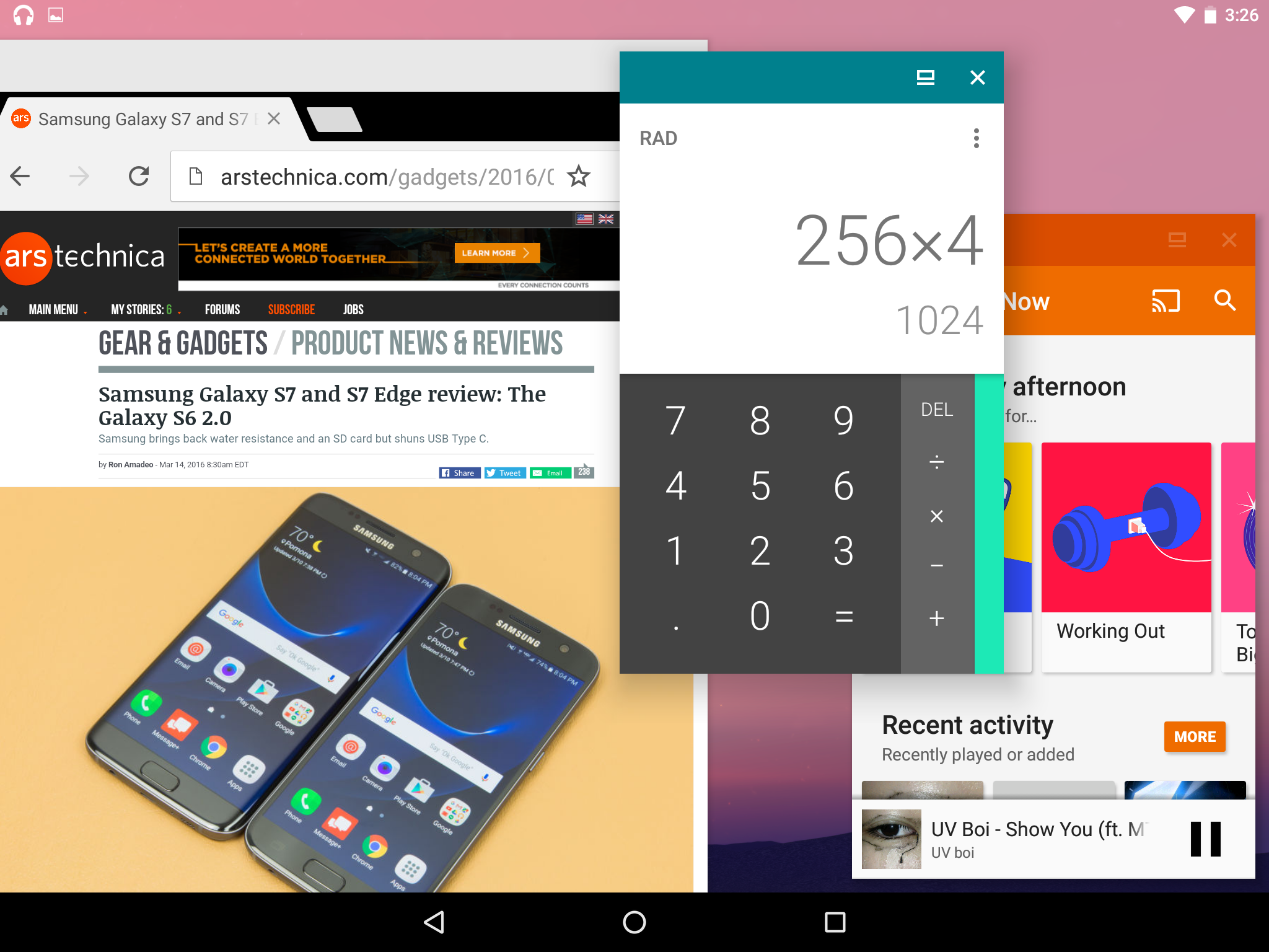 Android N Developer Preview 2 running the hidden freeform window mode.