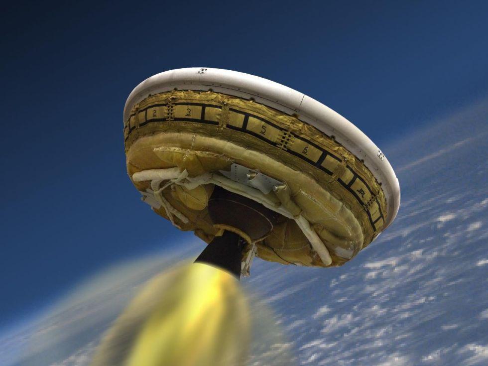 An artist's rendering of the Low Density Supersonic Decelerator in flight.