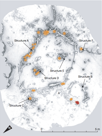The stalagmite structures in Bruniquel Cave are curved lines and circles built from layered stalagmites, some of which were hollowed out. Burn marks reveal that fires were lit inside the stalagmite structures, creating what were probably burning circles of stone. The orange spots represent the heated zones, and the red spot (structure B) represents a char concentration (mainly burnt bone fragments) on the ground.