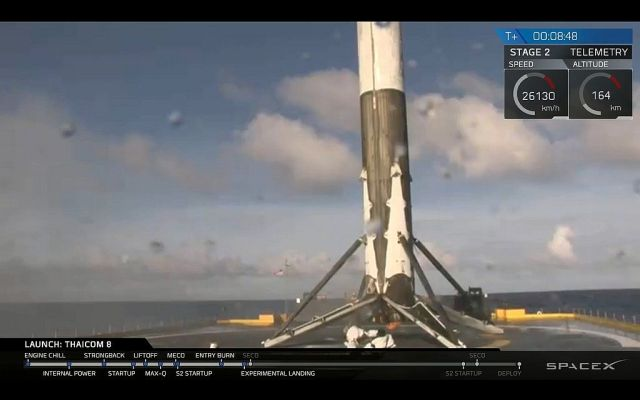 A screenshot of the rocket just after it landed on Friday evening.