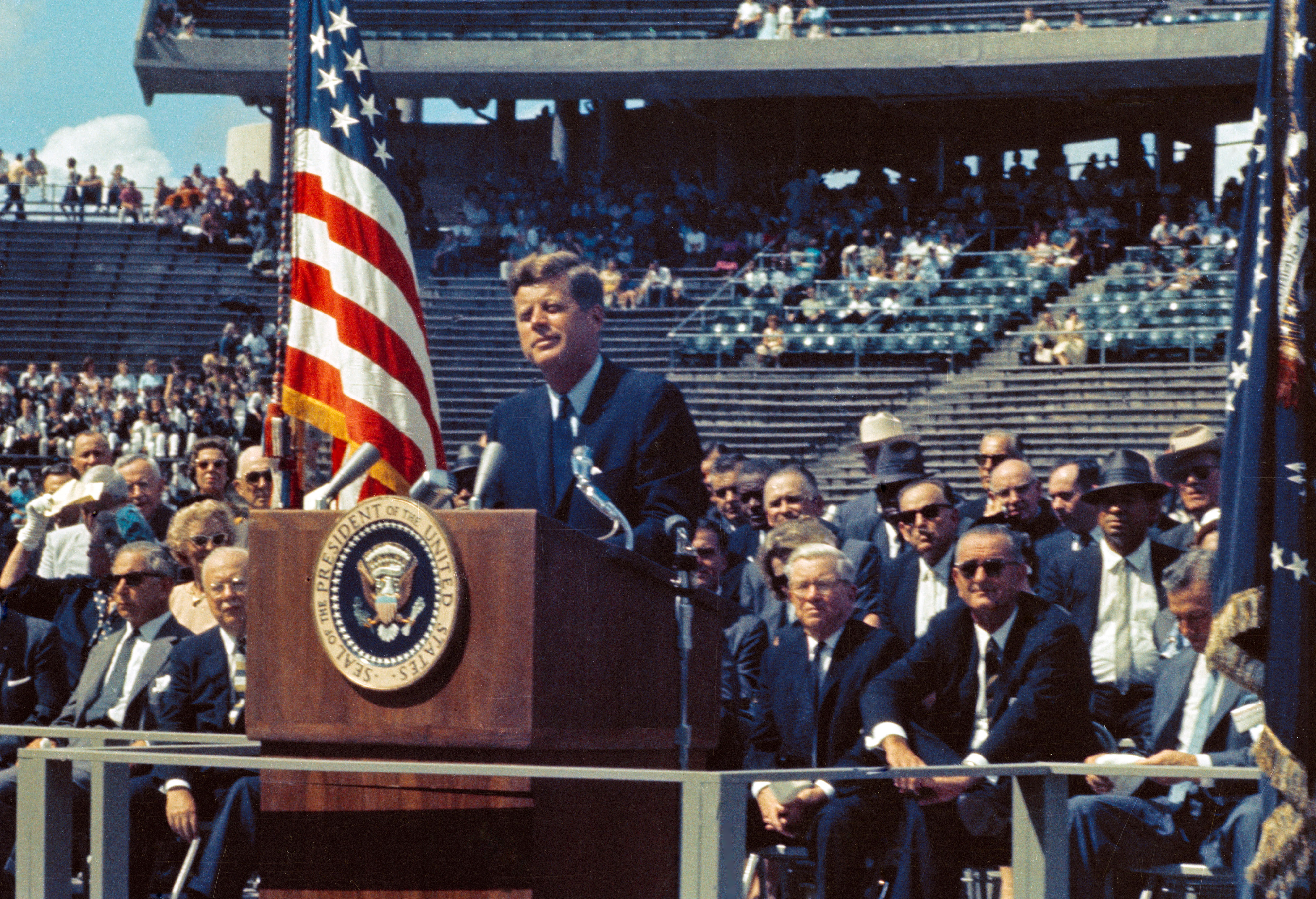 "During a September, 1962 visit to Houston President Kennedy told a crowd of 35,000 at Rice Stadium, ""We intend to become the world's leading spacefaring nation."""