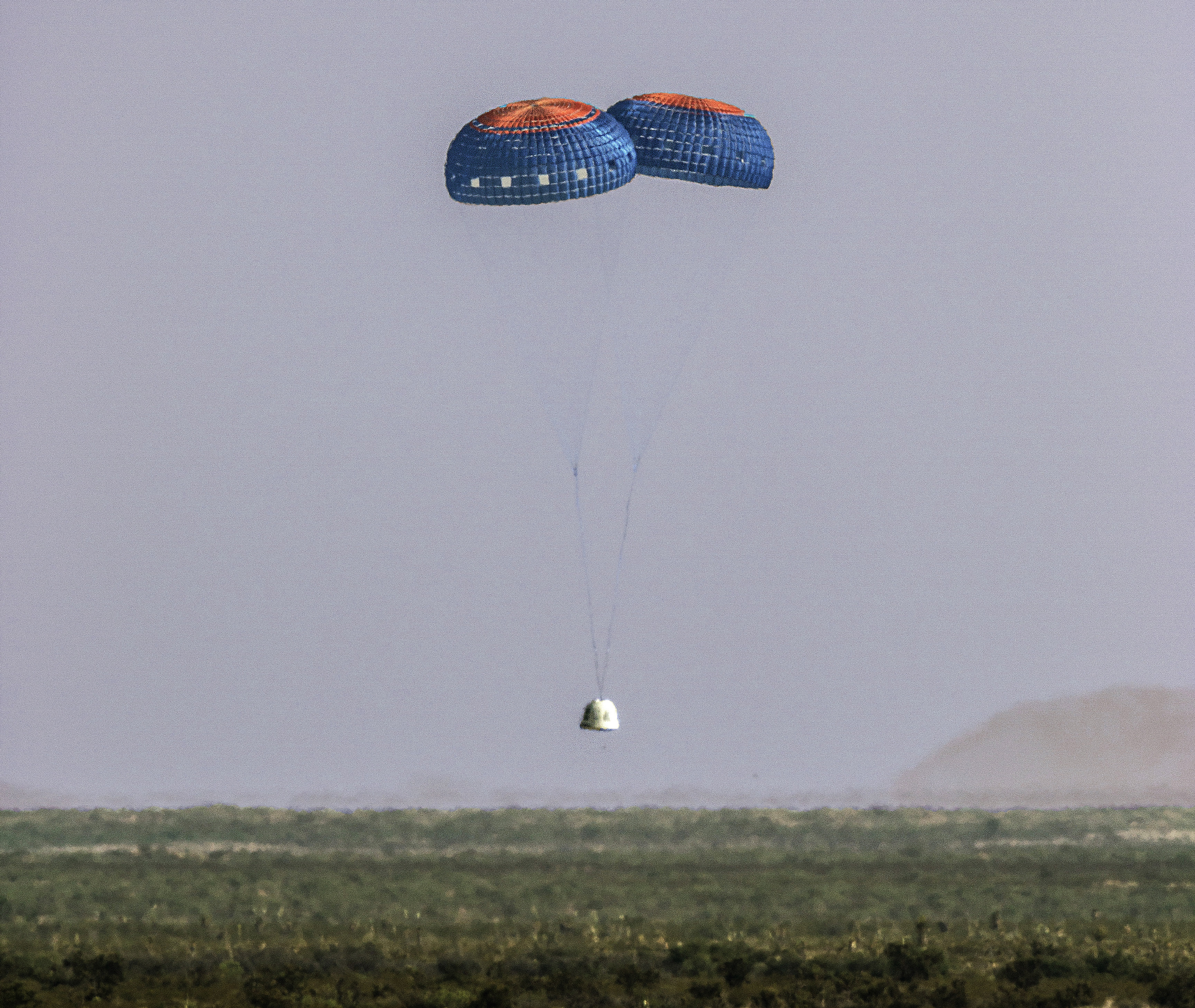 The New Shepard Capsule landed with just two parachutes on Sunday.