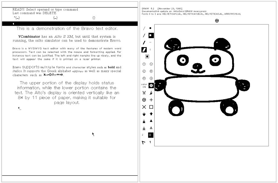 Bravo was the word processor for the Xerox Alto, providing WYSIWYG text editing. The Draw program for the Xerox Alto uses the mouse and icons for drawing. The Alto simulator Salto was used for these images.