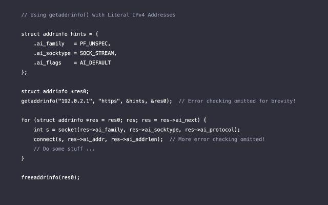 Code for using literal IPv4 addresses through NAT64.
