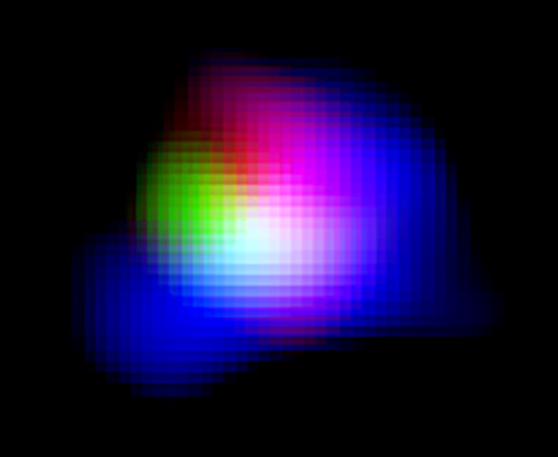 Color composite image of the galaxy SXDF-NB1006-2. The green portion is light from the ionized oxygen, taken by ALMA; the blue is ionized hydrogen detected by the Subaru telescope; the red is ultraviolet light detected by the UK Infrared Telescope (UKIRT).