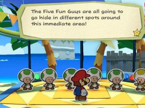 """Critics noticedpossible correlations between a new <em>Paper Mario</em> game andthe controversial GamerGate hashtag, including this mention of """"five guys""""—a phrase that was used in a disparaging way before the hashtag caught on."""