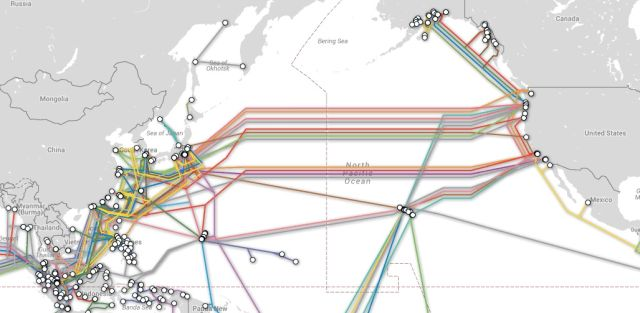 Map of trans-Pacific cables.