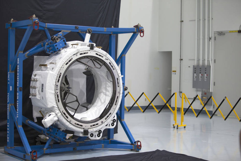 The International Docking Adapter-2 was tested in the Space Station Processing Facility prior to being loaded for launch into space.