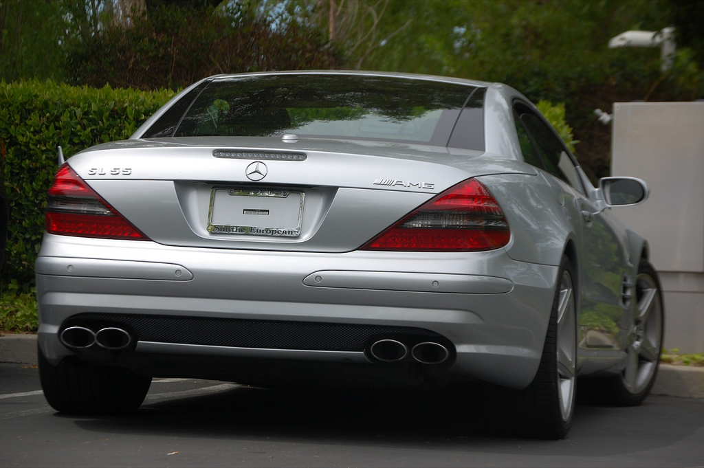 One of the many identical leased Mercedes-Benz SL55 AMGs driven by Steve Jobs. This one was spotted in 2008. Jobs would change cars (always sticking with an identical model) every six months to avoid having to put a license plate on the back.