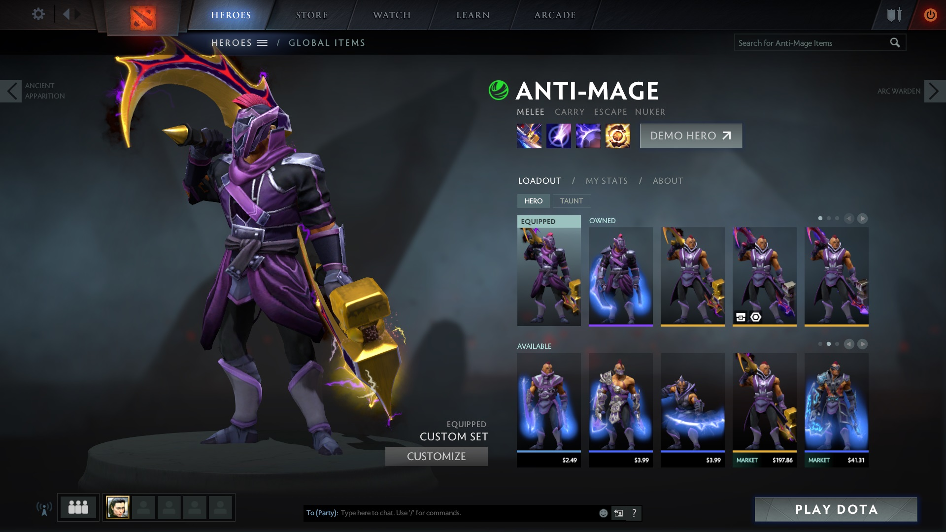 My Anti-Mage is wearing golden basher blades; these would cost nearly $200 to buy in the market, due to their rarity and desirability.