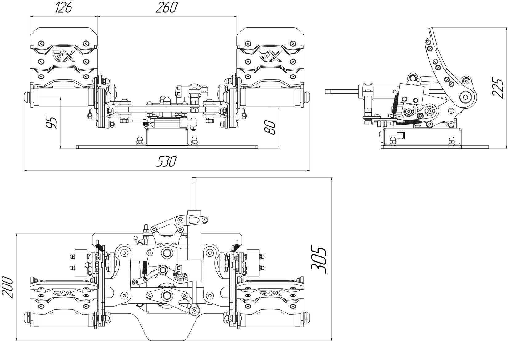 Slaw Device RX Viper pedal design diagram. Dimensions are in millimeters.