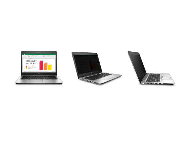 The EliteBook 840, showing its off-axis visibility with the privacy mode enabled.