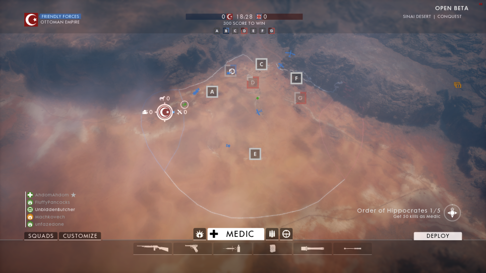 The Sinai map layout in Conquest mode.