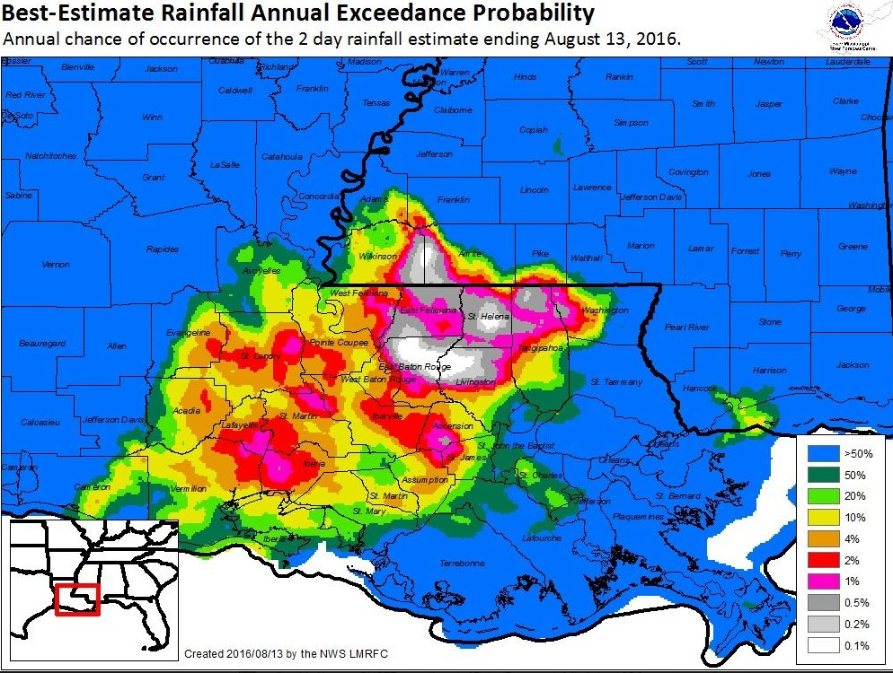 Annual chance of a two-day rainfall occurring like the event ending August 13. (National Weather Service)