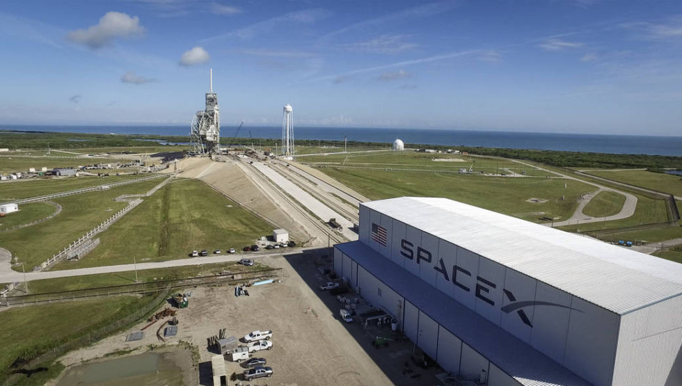 Launch Pad 39A at NASA's Kennedy Space Center in Florida undergoing modifications by SpaceX.