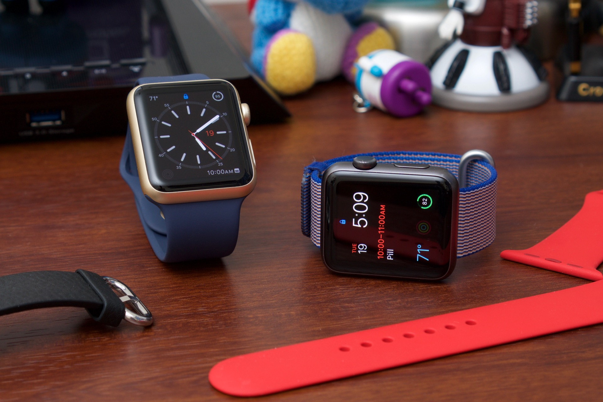 Two current-gen Apple Watch Sport models.