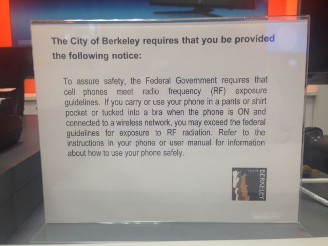 This photo showing the required warning was taken Monday at a cell phone store along Shattuck Avenue in downtown Berkeley.