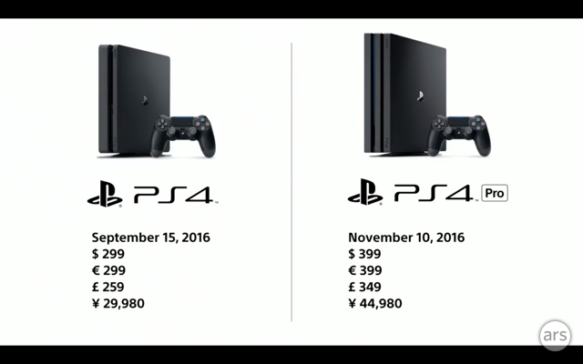 PS4 Slim and PS4 Pro price/release details.