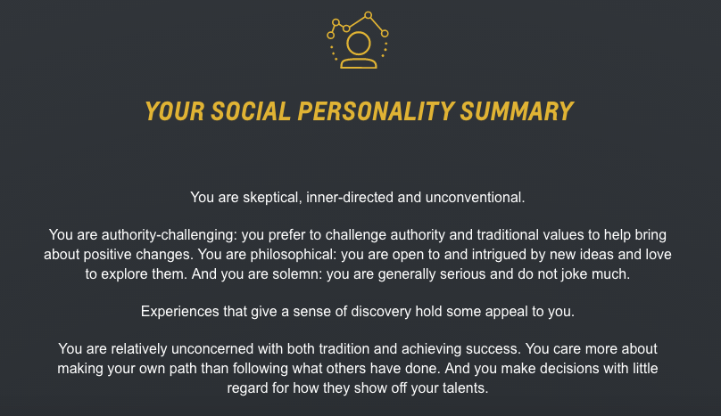 personality assessment and reflection Self reflection paper-personality test after doing the personality tests in tutorial 2, i would like to reflect something about my own personalityalso, i have some opinion about the trait.