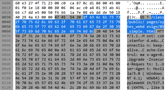 In this image, you can clearly see the details of the HTTP request sent in this packet in the ASCII view.