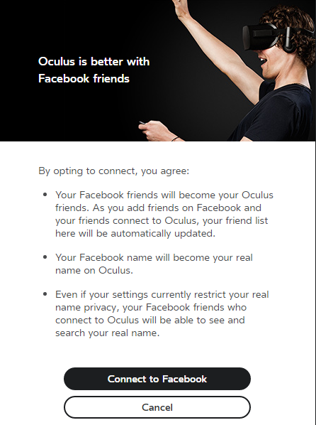 This Facebook-connectivity update appears to be rolling out to Oculus Rift users in waves as part of the headset PC software's 1.8 update.