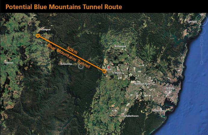 A map of a potential location for a tunnel through Australia's Blue Mountains.