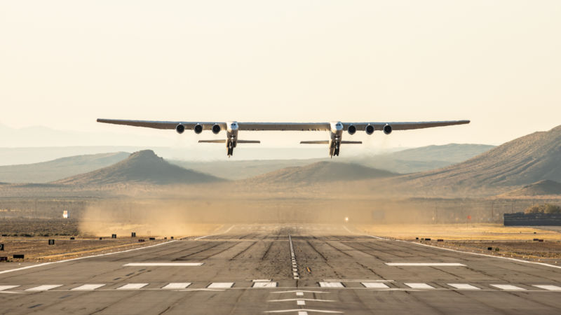 The Stratolaunch aircraft takes off on its maiden flight on April 13.
