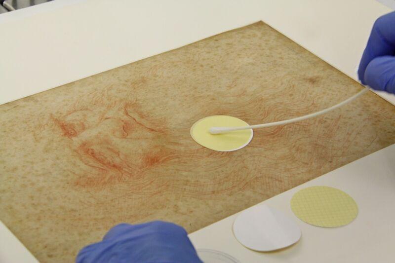 Sampling microbes from Leonardo da Vinci's <em>Portrait of a Man in Red Chalk</em> (1512).