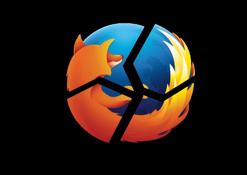 The Firefox logo is broken into 4 bits.