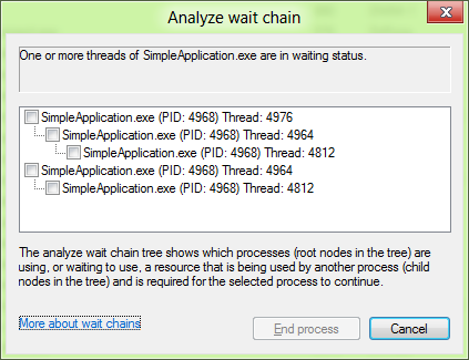 In this program, I created one thread that looped forever, and a second thread that waited on the looping thread. The main program thread then waited on the second thread. The program is stuck, and the wait chain analysis shows me why.