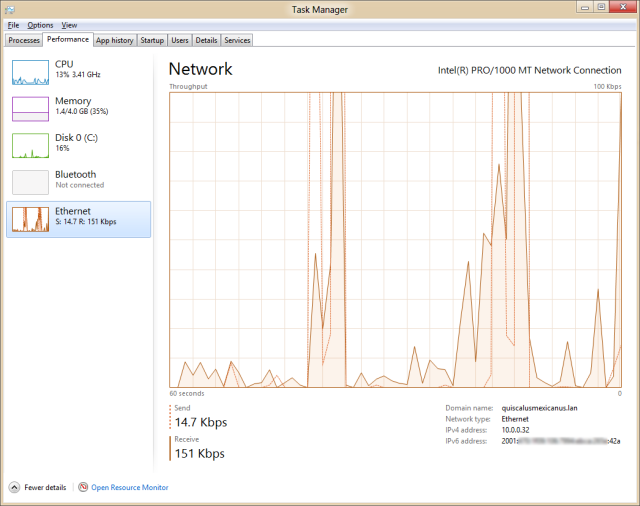 In Windows 8, we lose the ability to see multiple network connections simultaneously, but we get a more useful graph