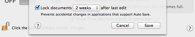 The auto-lock delay setting, cleverly hidden in the Time Machine preference pane
